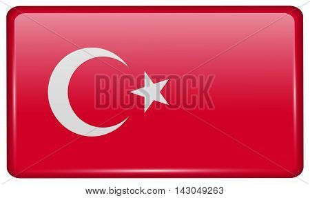 Flags Turkey In The Form Of A Magnet On Refrigerator With Reflections Light. Vector