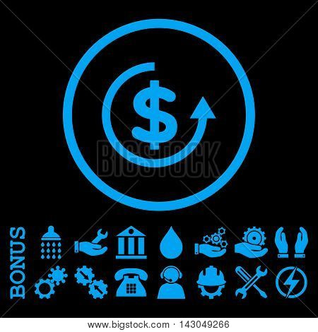 Refund glyph icon. Image style is a flat pictogram symbol inside a circle, blue color, black background. Bonus images are included.