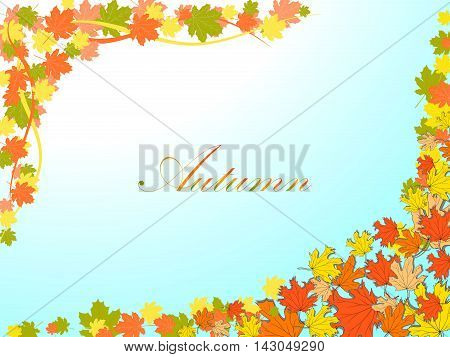 Autumn Light Blue Background With Colorful Maple Leaves In The Opposite Corners