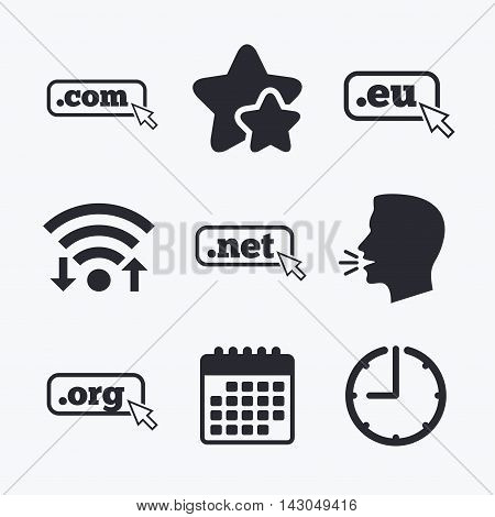 Top-level internet domain icons. Com, Eu, Net and Org symbols with cursor pointer. Unique DNS names. Wifi internet, favorite stars, calendar and clock. Talking head. Vector