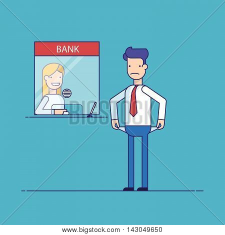 Businessman without money nothing to pay the loan , the debt to the bank. Man is not the money to pay. Man in difficult financial situation. Banking system. Thin line flat vector illustration