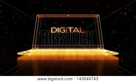 Digital 3D Rendering With Wireframe Of Notebook Standing On Reflective Floor With A Digital Word On