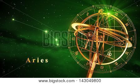 Armillary Sphere And Constellation Aries Over Green Background. 3D Illustration.