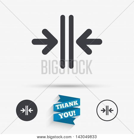 Close the door sign icon. Control in the elevator symbol. Flat icons. Buttons with icons. Thank you ribbon. Vector