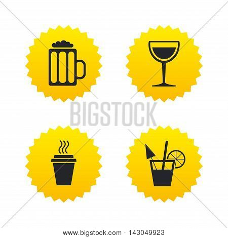 Drinks icons. Take away coffee cup and glass of beer symbols. Wine glass and cocktail signs. Yellow stars labels with flat icons. Vector