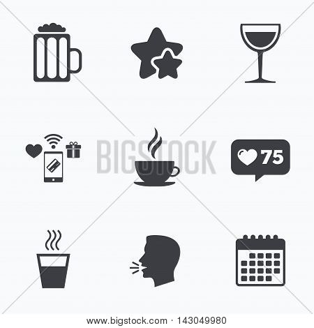 Drinks icons. Coffee cup and glass of beer symbols. Wine glass sign. Flat talking head, calendar icons. Stars, like counter icons. Vector