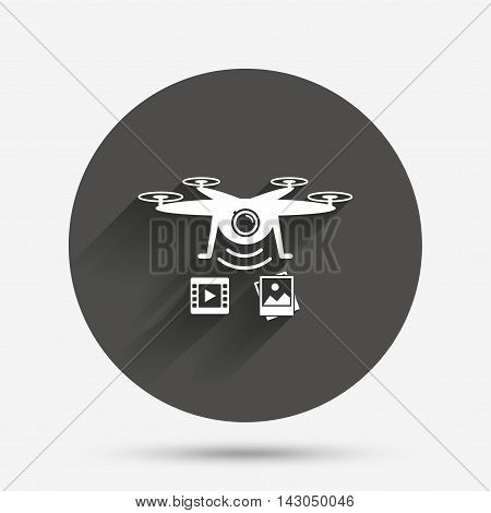 Drone icon. Quadrocopter with video and photo camera symbol. Circle flat button with shadow. Vector