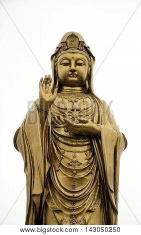 the large bronze Guanyin Buddha statue on the island of Putuoshan located in Zhejiang Province China.
