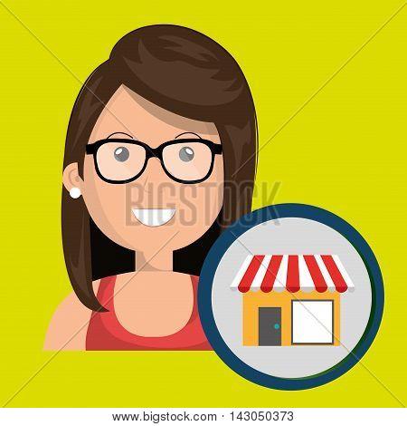 woman store market icon vector illustration graphic