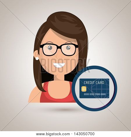 woman credit card money vector illustration graphic