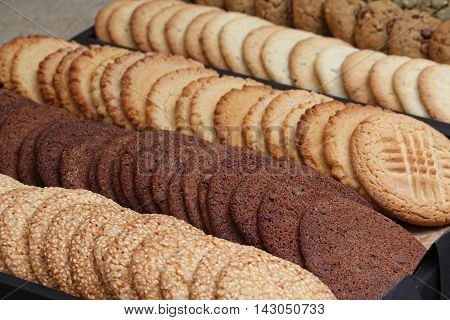 Cookies in the range lying on the counter. Food