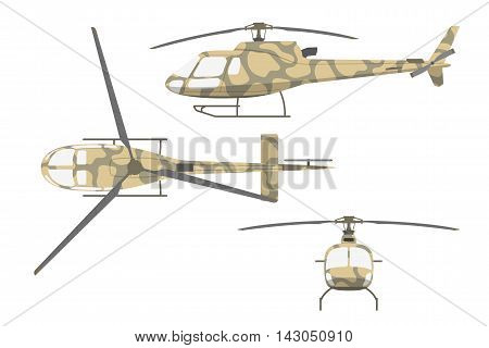 Military helicopter in flat style on white background. Front view side and top view. Vector illustration