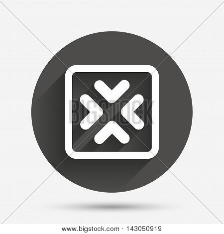 Enlarge or resize icon. Full Screen extend symbol. Circle flat button with shadow. Vector
