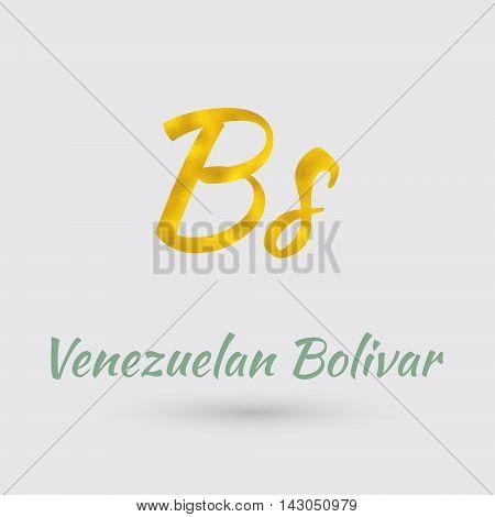 Symbol of the Venezuela Currency with Golden Texture.Vector EPS 10