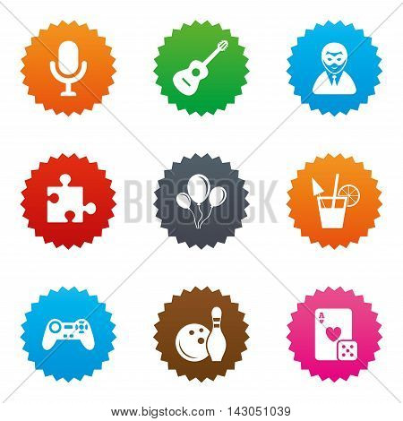 Game, bowling and puzzle icons. Entertainment signs. Casino, carnival and alcohol cocktail symbols. Stars label button with flat icons. Vector