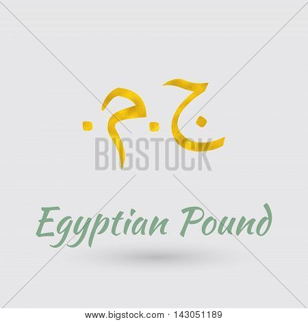 Symbol of the Egypt Currency with Golden Texture.Vector EPS 10