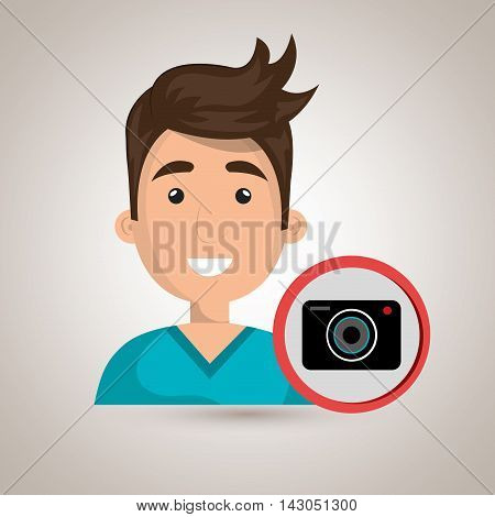 man camera photography icon vector illustration gra