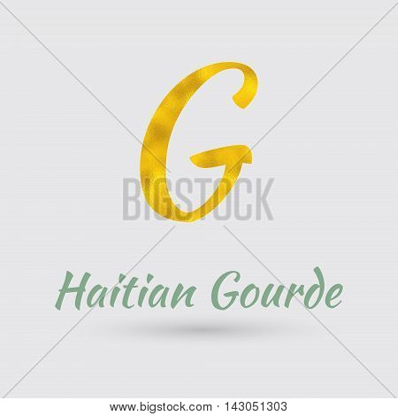 Symbol of Haiti Currency with Golden Texture.Vector EPS 10