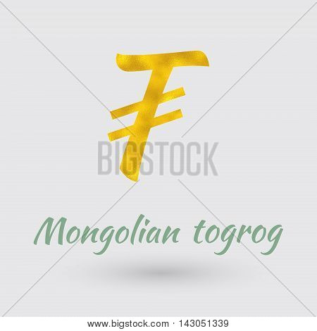 Symbol of the Mongolian Togrog Currency with Golden Texture.Vector EPS 10
