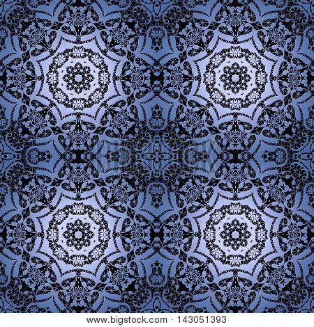 Lace black seamless pattern colors elegant print blue background