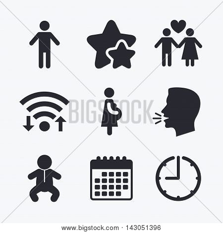 Family lifetime icons. Couple love, pregnancy and birth of a child symbols. Human male person sign. Wifi internet, favorite stars, calendar and clock. Talking head. Vector