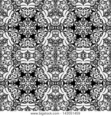 Lace white seamless pattern monochrom colors elegant print black background