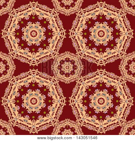 Lace coral seamless pattern colors elegant print red background