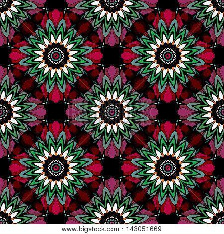 Abstract paisley ornament. Seamless pattern kaleidoscopic orient popular style