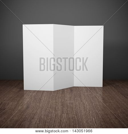 Blank brochure on wooden table. 3D illustration.