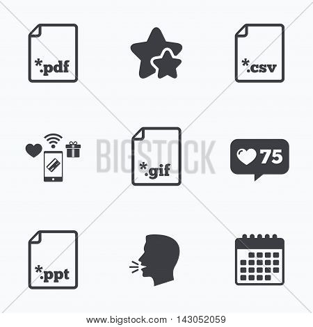 Download document icons. File extensions symbols. PDF, GIF, CSV and PPT presentation signs. Flat talking head, calendar icons. Stars, like counter icons. Vector