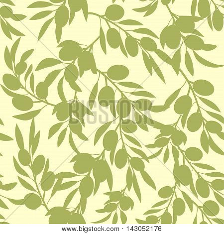 Olive tree brunches seamless pattern design. Use for food &  cosmetics package decoration textiles, interior decoration, web page background, wrapping paper, greeting cards. Editable