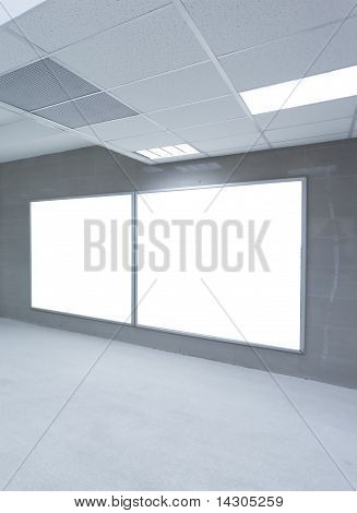 glass clean tunnel with light white ceiling