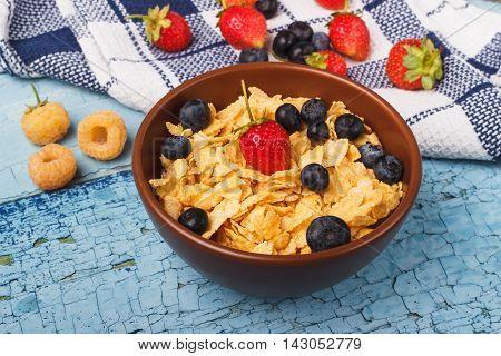 Corn Flakes With Berries Raspberries, Strawberry