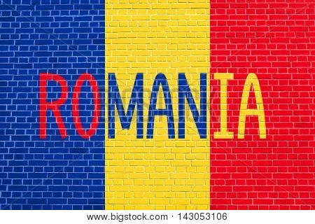 Flag of Romania on brick wall texture background. Romanian national flag. Word Romania. illustration