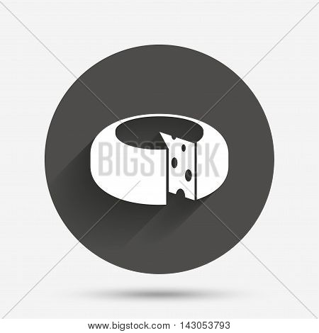 Cheese wheel sign icon. Sliced cheese symbol. Round cheese with holes. Circle flat button with shadow. Vector