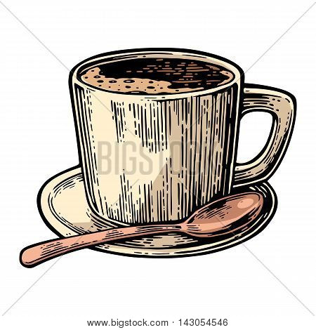Cup of coffee with saucer spoon. Hand drawn sketch style. Vintage color vector engraving illustration for label web flayer. Isolated on white background
