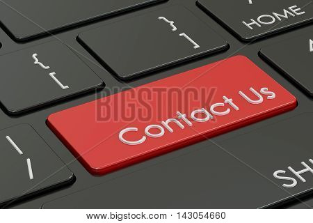 Contact us red hot key on the keyboard 3D rendering