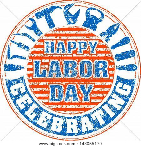 Happy Labor Day Celebrating Colorful Rubber Stamp With Striped Background And Silhouettes Of Workers
