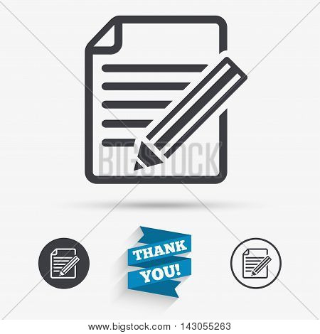 Edit document sign icon. Edit content button. Flat icons. Buttons with icons. Thank you ribbon. Vector