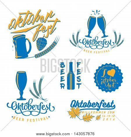 Vector illustration of Oktoberfest logo set. Oktoberfest celebration design element isolated on white. Lettering typography with beer mug, wheat hop, leaves. Oktoberfest beer festival decoration badge