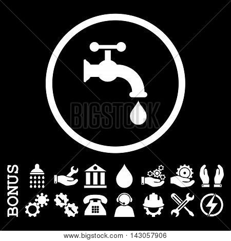 Water Tap glyph icon. Image style is a flat pictogram symbol inside a circle, white color, black background. Bonus images are included.