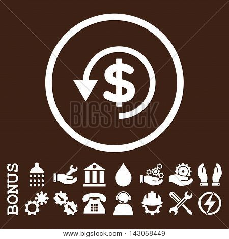 Chargeback glyph icon. Image style is a flat pictogram symbol inside a circle, white color, brown background. Bonus images are included.