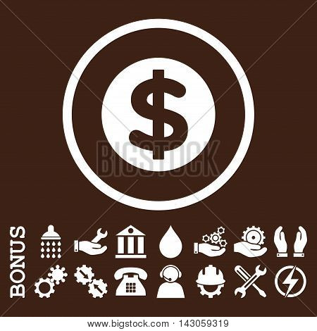 Finance glyph icon. Image style is a flat pictogram symbol inside a circle, white color, brown background. Bonus images are included.