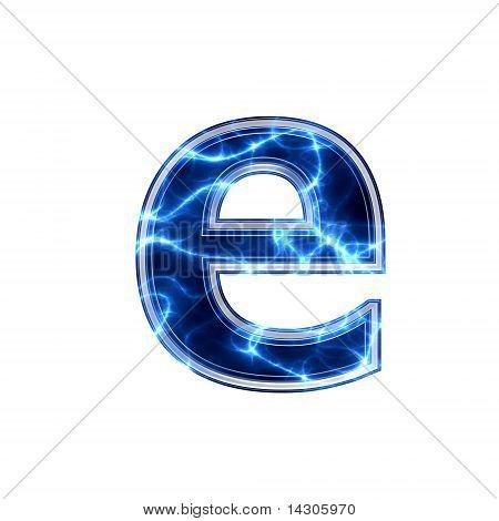 electric 3d letter - e