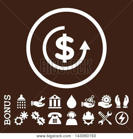 Refund glyph icon. Image style is a flat pictogram symbol inside a circle, white color, brown background. Bonus images are included.