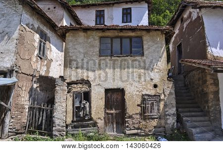 Old abandoned damaged house in Southeast Serbia.