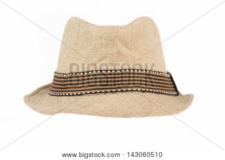Mesh style fedora hat with band isolated on white
