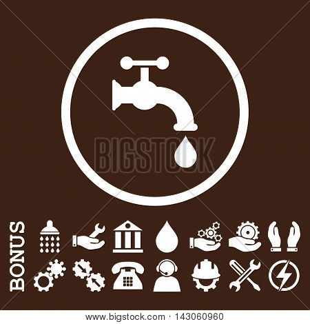 Water Tap glyph icon. Image style is a flat pictogram symbol inside a circle, white color, brown background. Bonus images are included.