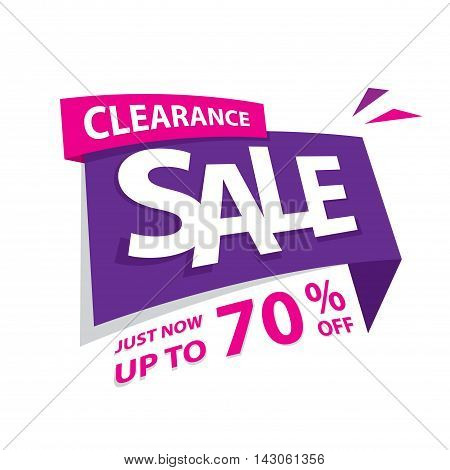 Clearance Sale Purple Pink 70 Percent Heading Design For Banner Or Poster. Sale And Discounts Concep