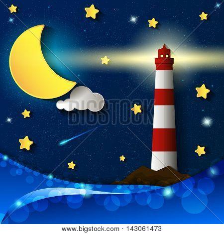 lighthouse storm night moon stars clouds light